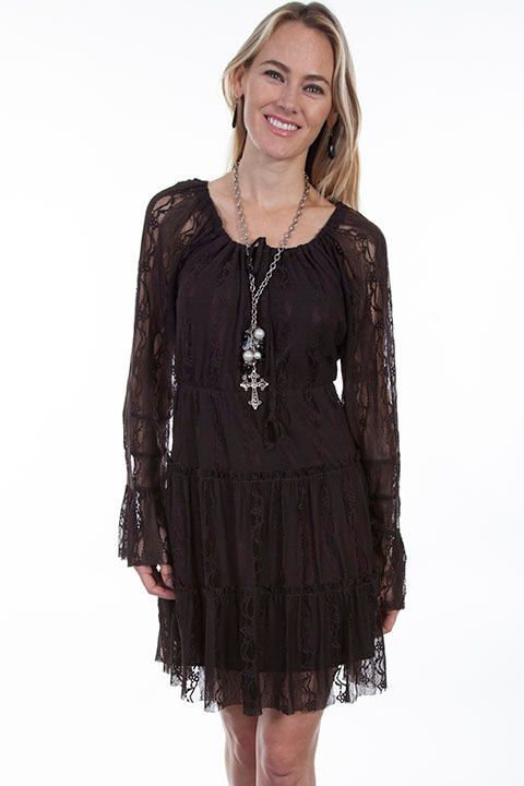This Scully Womens Short Brown Lace Western Dress has the innocence of lace on this beautiful country cowgirl dress with long sleeves and a scoop neckline with a drawstring tie for dinning or country western dancing.