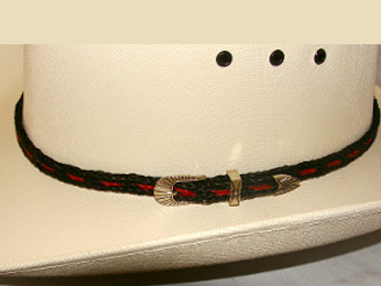 This Sterling Silver Black and red Horse hair hat band is hand made in the USA with genuine horse hair with a sterling silver belt buckle closure a great western hat band for cowboys or cowgirls.