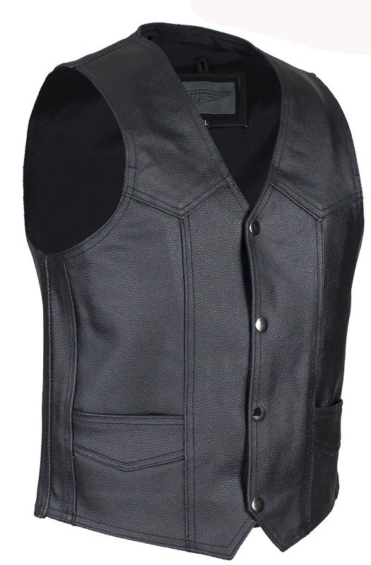 Child black leather western vest