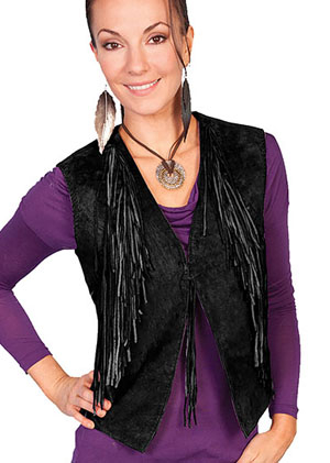 This Womens Scully Black boar suede Fringe western vest has fringe starting at the neck and ends in a diagonal on the sides, tie front closure whip stitch arm holes a perfect cowgirl western vest for women.