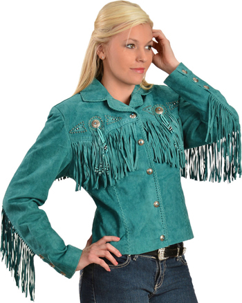 This Scully Womens Boar Suede Turquoise Fringe Western Jacket has beads, studs, and conchos, this western jacket has style. Made from boar suede with fringe on the front, back and closes with a 5-button front