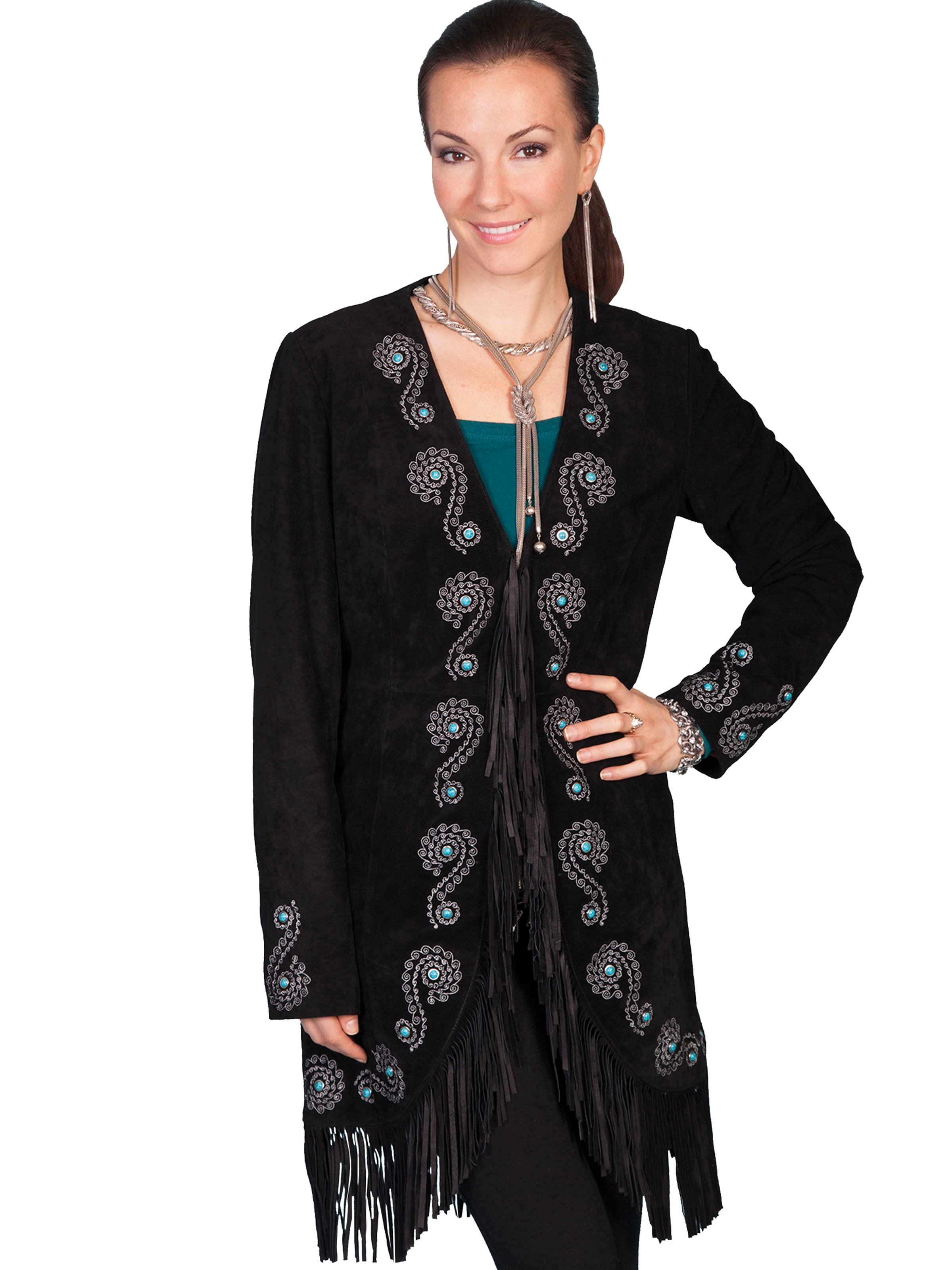 "This ""Joplin"" Womens Scully Black Embroidered Suede Coat is a beautiful western show stopper of a jacket. The black suede is soft to the touch with detailed turquoise and silver and silk inner lined."