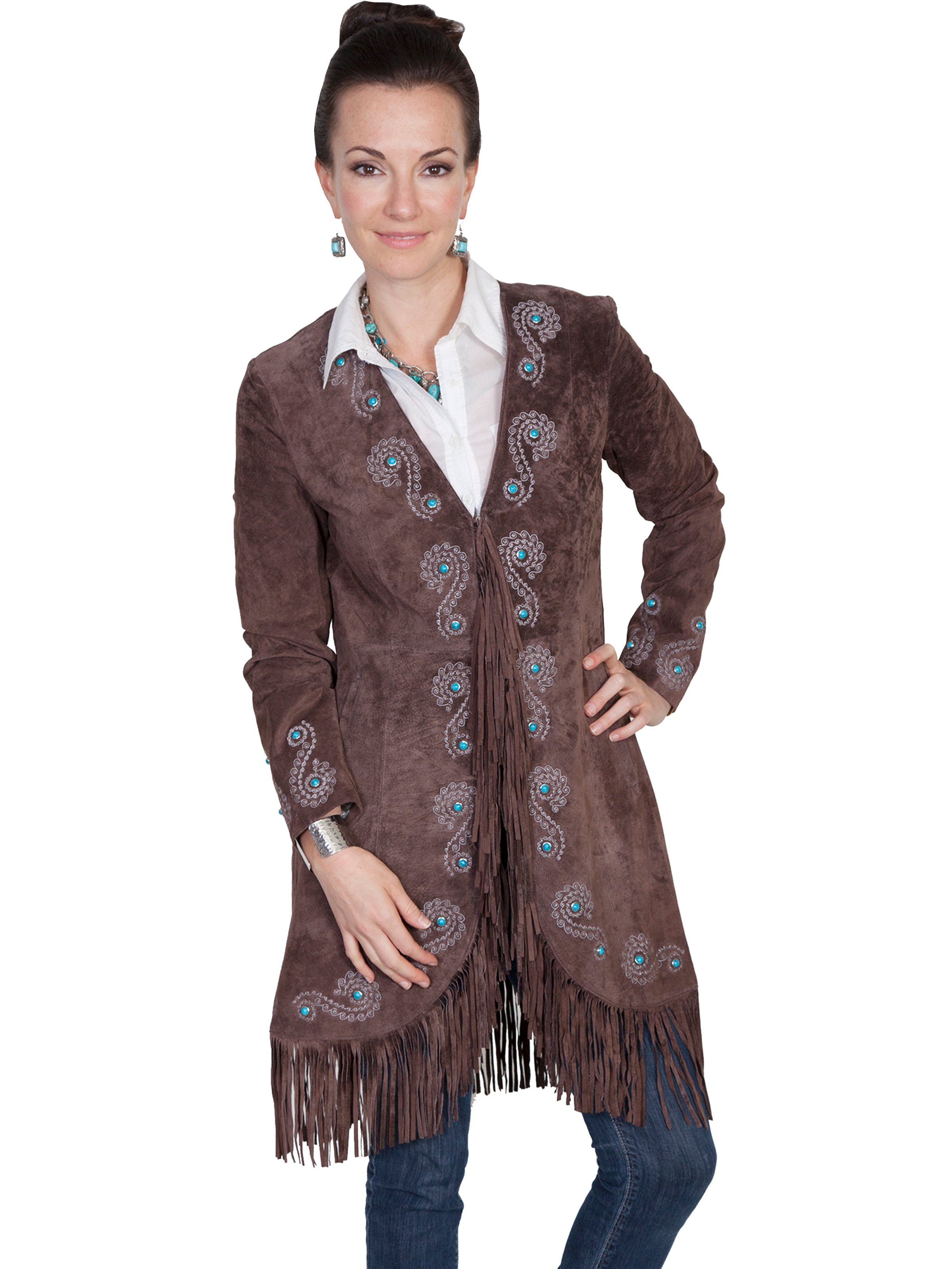 "This ""Joplin"" Womens Scully Brown Embroidered Suede Fringe Coat is a beautiful western show stopper of a jacket. The black suede is soft to the touch with detailed turquoise and silver and silk inner lined."