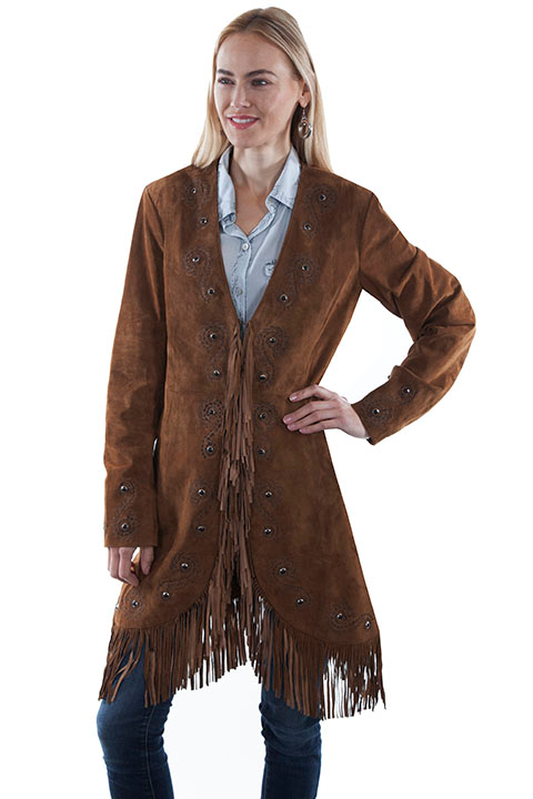 "This ""Joplin"" Womens Scully Cinnamon Embroidered Suede Fringe Coat is a beautiful western show stopper of a jacket. The suede is soft to the touch with detailed stitching and black stones with silver and silk inner lined."