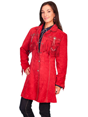 Scully Womens XS Beaded 3/4 LONG Western Fringe Red Jacket
