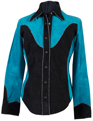 This Womens Scully Two Tone Taos Blue Western Suede Shirt Jacket has stunning blue taos with black 2 tone retro cowgirl shirt look wear it as a jacket with pearl snaps and twisted black & white candy-cane piping.