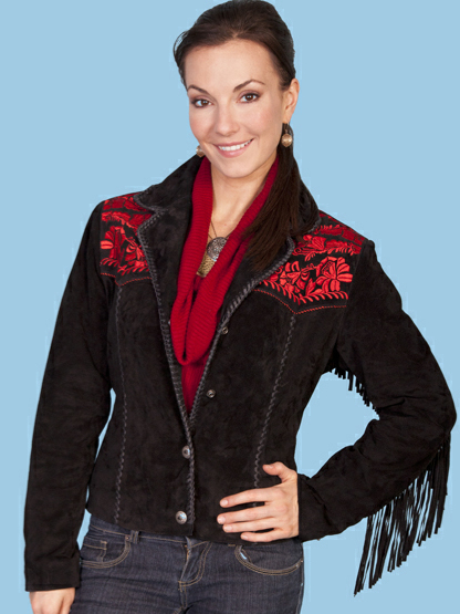 Scully Women's Small Black Western Fringe Red Embroidered Jacket