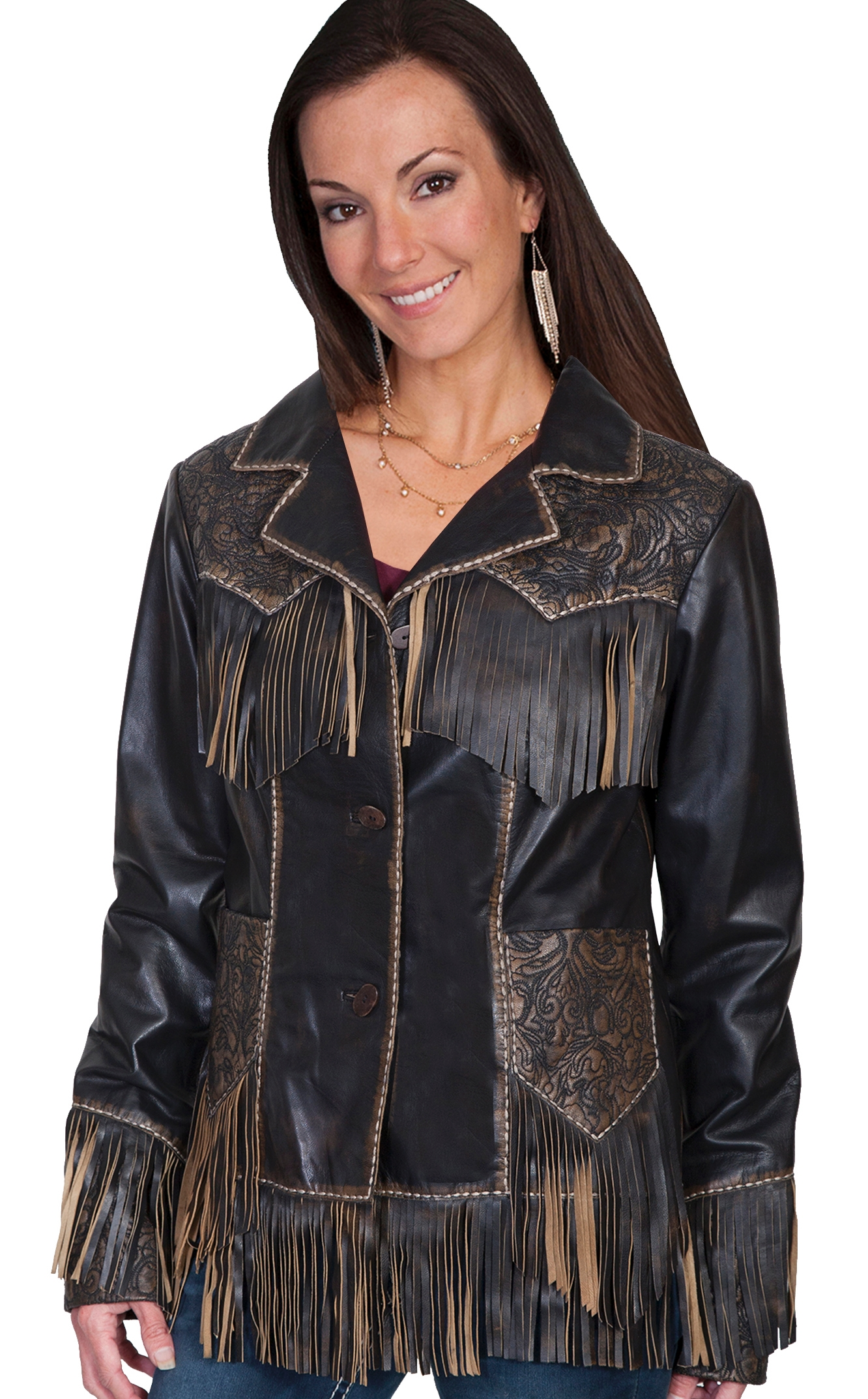 "This ""Miss Kittie"" Women's Tooled Leather Fringe Western Jacket features a tooled design. This jacket is soft quality leather with a white stitch leather trim and 3 bone button front closure on a notched lapel"