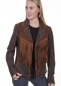 This Womens Scully Brown Lamb Suede Leather Whip Stitch Fringe Jacket is a lighthearted long fringe jacket with whip stitch throughout.The yokes sport a silk-screened pattern with nickel stud trim, notched lapels