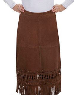 This Womens Long Brown Lambskin Leather Fringe Western Skirt is a stylish fringe skirt with studs and knotted fringe rows on the bottom, zip closure at the back for a great fit.