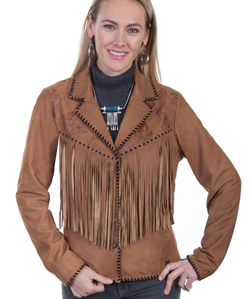 This Women's Scully Whip Stitch Fringe Jacket is made of soft Lamb suede leather with stylish western fringe and a whip stitch trim throughout.It has a floral vine pattern on the yokes front and back.
