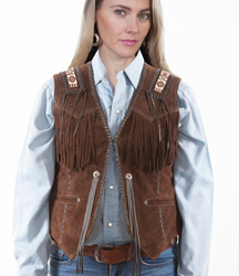 This Womens Scully Expresso Indian Fringe western vest is Hand laced. This exquisite western vest features beaded trim on shoulders and the back with whip stitch throughout. A Western favorite.