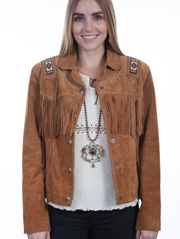 This exquisite Womens Scully Bouron Boar Suede Indian Fringe Jacket western jacket features beaded trim epaulettes on shoulders and back & is hand laced throughout, including a leather buck stitch trim and fringe.