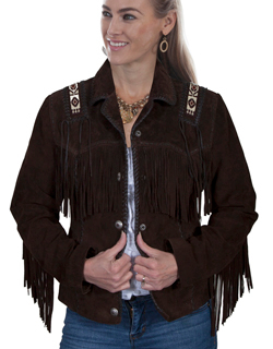 This exquisite Womens Scully Expresso Boar Suede Indian Fringe Jacket western jacket features beaded trim epaulettes on shoulders and back & is hand laced throughout, including a leather buck stitch trim and fringe.