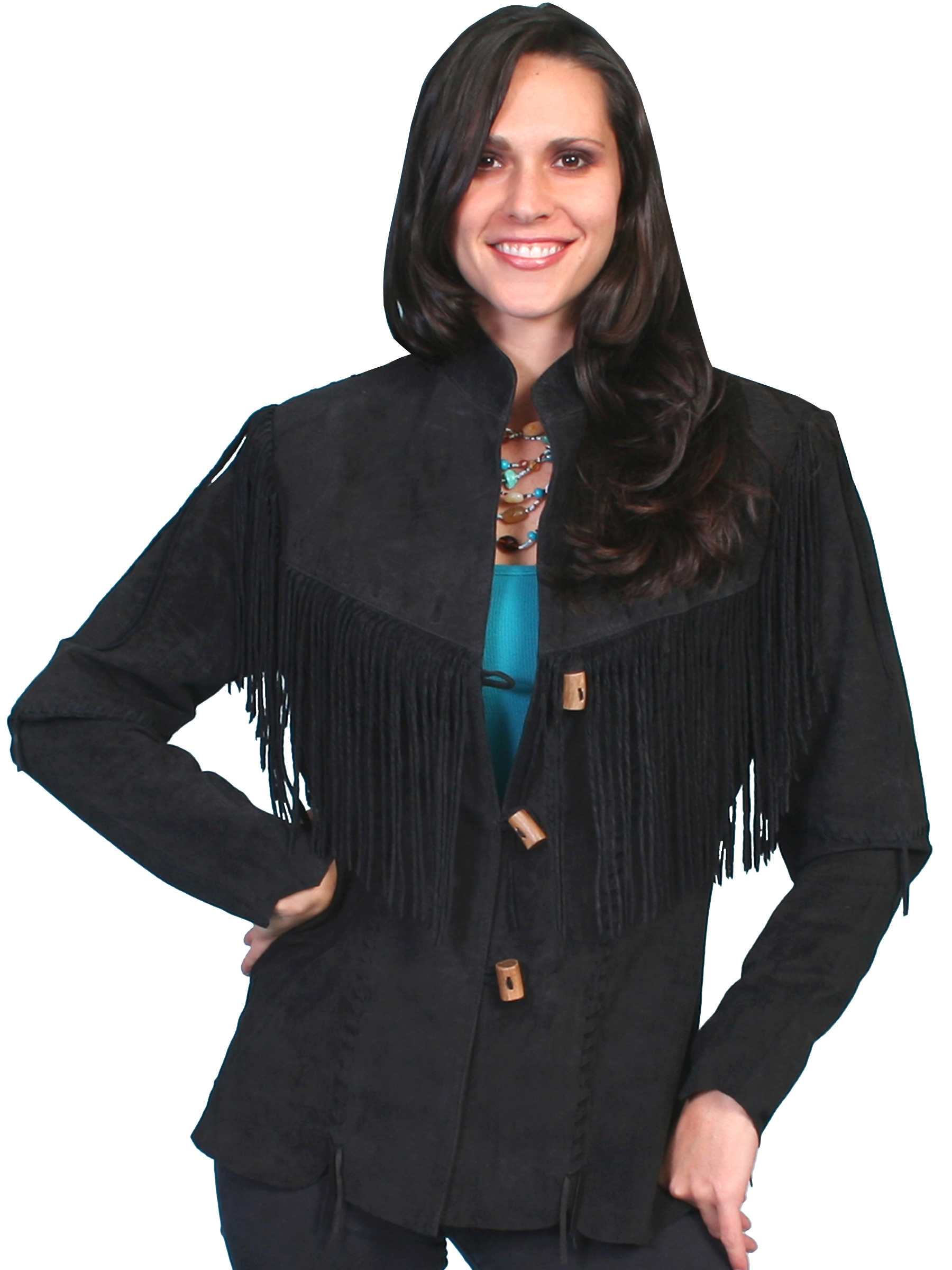 Scully Womens Medium Black boar suede long fringe coat