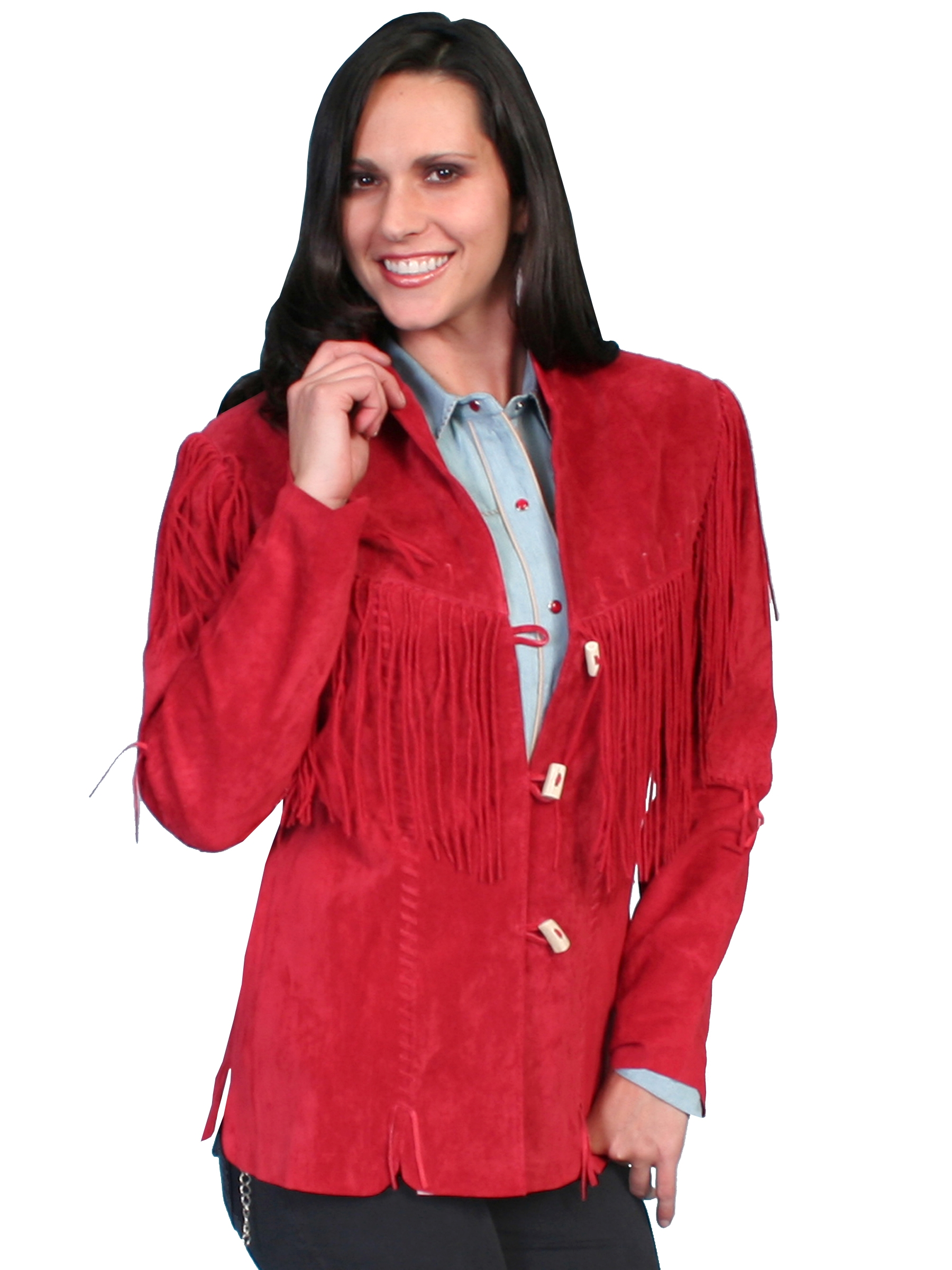 Scully Womens XL Red Boar Suede Long Fringe Coat
