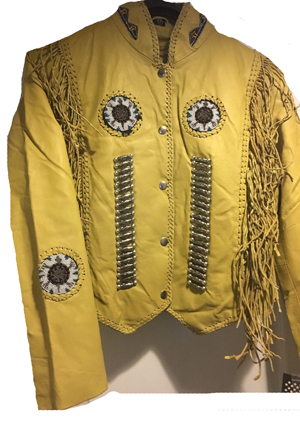 This Womens Natural Leather Native Beaded Fringe Jacket will wow you with the inner quilted lining and snap inner pockets snap front for a high quality warm western jacket for any cowgirl or lady biker.