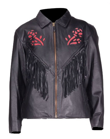 womens western jackets, red rose jacket, rose fringe jacket, ladies western jacket, fringe leather jacket, black leather fringe jacket, western jacket