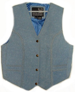 This Denim Leather Womens western vest is made of genuine leather with the look of blue jean denim vest. This womens leather western vest has leather braids accented down the sides with extra room with side laces.
