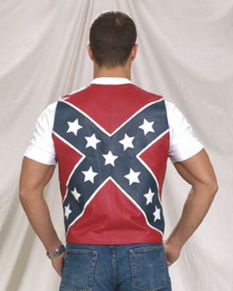 Mens\'s Lambskin Leather Confederate Rebel Flag Vest