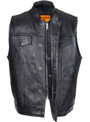 a8e720c9a70 Mens 52 Naked Cowhide Leather Black Zipper vest with Gun Pocket