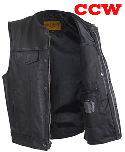 "Mens 1/2"" Collar Black Leather Zip Front Concealed Carry Vest"