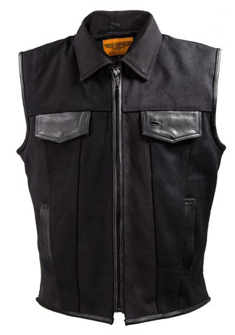 Mens Black Canvas Leather Trim Zip Up Concealed Carry Vest, Mens Concealed Carry Western Vest, Canvas Concealed Carry Western Vest, gun carry vest, concealed Carry Western Vest,