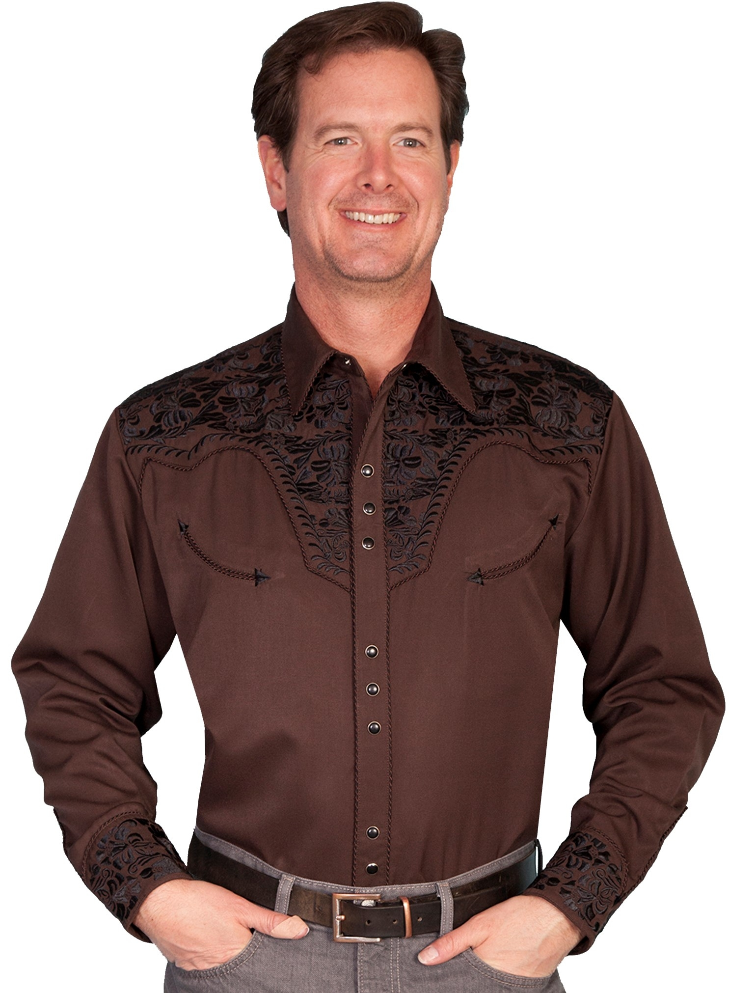 "This ""Chocolate Gunfighter"" Mens Western shirt by Scully is made for western flare on the dance floor or western wedding. This brown embroidered cowboy shirt is a great honky tonk shirt for men."