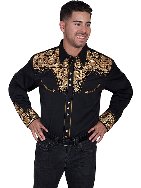"This ""Gold Gunfighter"" Mens Scully Gold Embroidered Western Shirt is a western favorite with the beautiful vintage smiley pockets and retro floral embroidered yoke complete with pearl snaps to make this a great cowboy shirt."