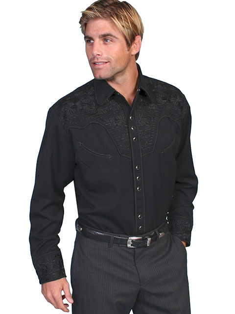 "This ""Jet Gunfighter"" Black western Mens shirt by Scully is a western favorite with the beautiful vintage smiley pockets and retro floral embroidered yoke complete with pearl snaps to make this a great cowboy shirt."