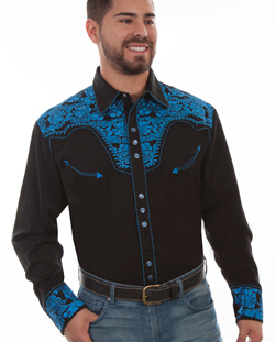 "This""Royal Gunfighter"" Mens Scully Royal Blue Retro Western Shirt is a western favorite with beautiful vintage smiley pockets and retro floral embroidered yoke complete with pearl snaps"