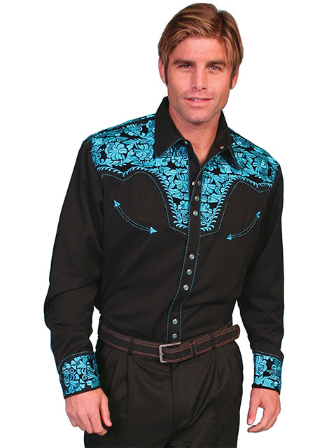 "This ""Turquoise Gunfighter"" Mens Turquoise Embroidered Western Shirt is a western favorite with the beautiful vintage smiley pockets and retro floral embroidered yoke complete with pearl snaps cowboy shirt."
