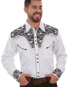 "This ""Gunfighter"" Mens Black Embroidered White Western Shirt is a western favorite with the beautiful vintage smiley pockets and retro floral embroidered yoke complete with pearl snaps to make this a great cowboy shirt."