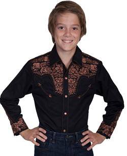 "This ""Iron Gunfighter Jr"" Brown Embroidered Kids Scully Cowboy Shirt is made just like our adult version with retro western embroidery and vintage smiley pockets complete with matching pearl snaps for kids."