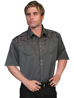 This Mens Scully Charcoal Short Sleeve Embroidered Western Shirt is a western favorite with the beautiful vintage smiley pockets and retro floral embroidered yoke complete with pearl snaps