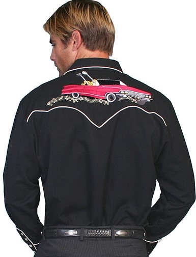 "This Mens Scully ""Rockabilly"" Black western guitar shirt with front and back embroidered musical notes and a 50's convertible Cadillac car on the back complete with retro pearl snaps and white vintage piping."