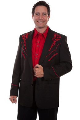 "This ""Crimson Blazes"" Mens Scully red Embroidered Western Blazer is the cowboy dress coat for that special occasion a throwback to the old west country music days of simple classy looks and style for men."