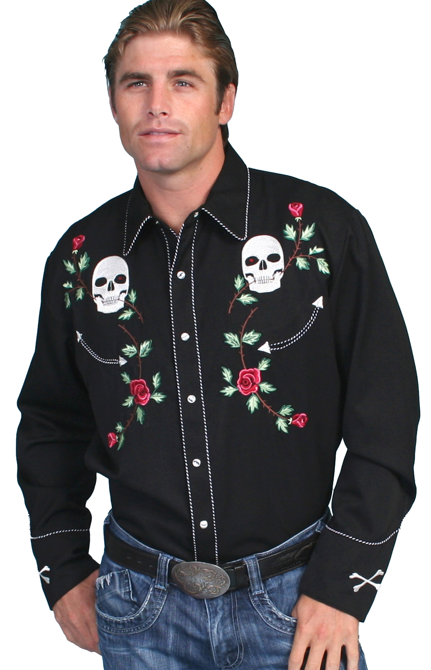 Men's Scully Red Floral Embroidered Black Western Shirt