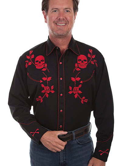 The Mens Scully Men's Red Skull n Roses Western Shirt is a rare find for the man who digs skulls and roses on a cowboy shirt with pearl snaps and detailed embroidery throughout.