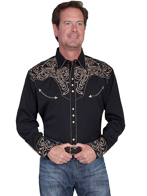 This Mens Scully Tan Embroidered Black Western Shirt is a great cowboy shirt for a rodeo or horse show with sizes up to 4XL
