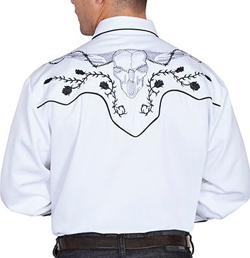 This Mens Scully Longhorn Rose White Western Shirt is real ghostly. This retro design for men is a great cowboy look for out on the town. This mens vintage cowboy shirt is also great for everyday.