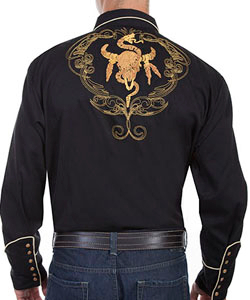 "This ""Golden Longhorn Skull"" Mens Scully Black Pearl Snap Shirt features a large skull head gold embroidered back with a snake surrounding on this pearl snap western shirt. Smiley pocket front yokes and embroidery."