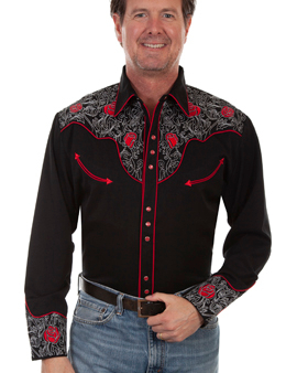 This Mens Scully White Scroll Red Rose Smiley Pocket Western Shirt has mesmerizing white embroidery with red roses on a red piped retro smiley pocket cowboy shirt for men with pearl snaps.