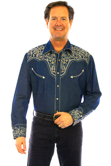 This Candy Cane Piped Denim Embroidered Mens Scully Western Shirt has vintage smiley pockets and retro floral embroidered yoke complete with pearl snaps a great western wedding cowboy shirt for men.
