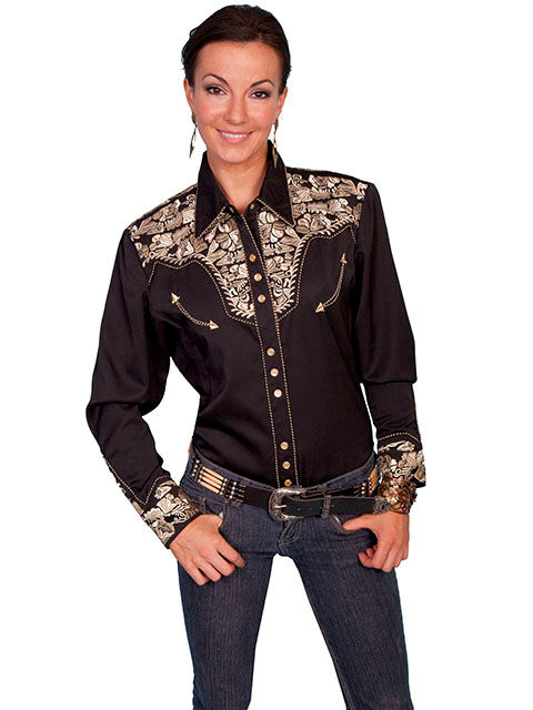"This ""Golden Lady Gunfighter"" Womens black western shirt by Scully is a popular matching western shirt for his and hers matching shirts with embroidered floral top and back yokes with twisted piping"
