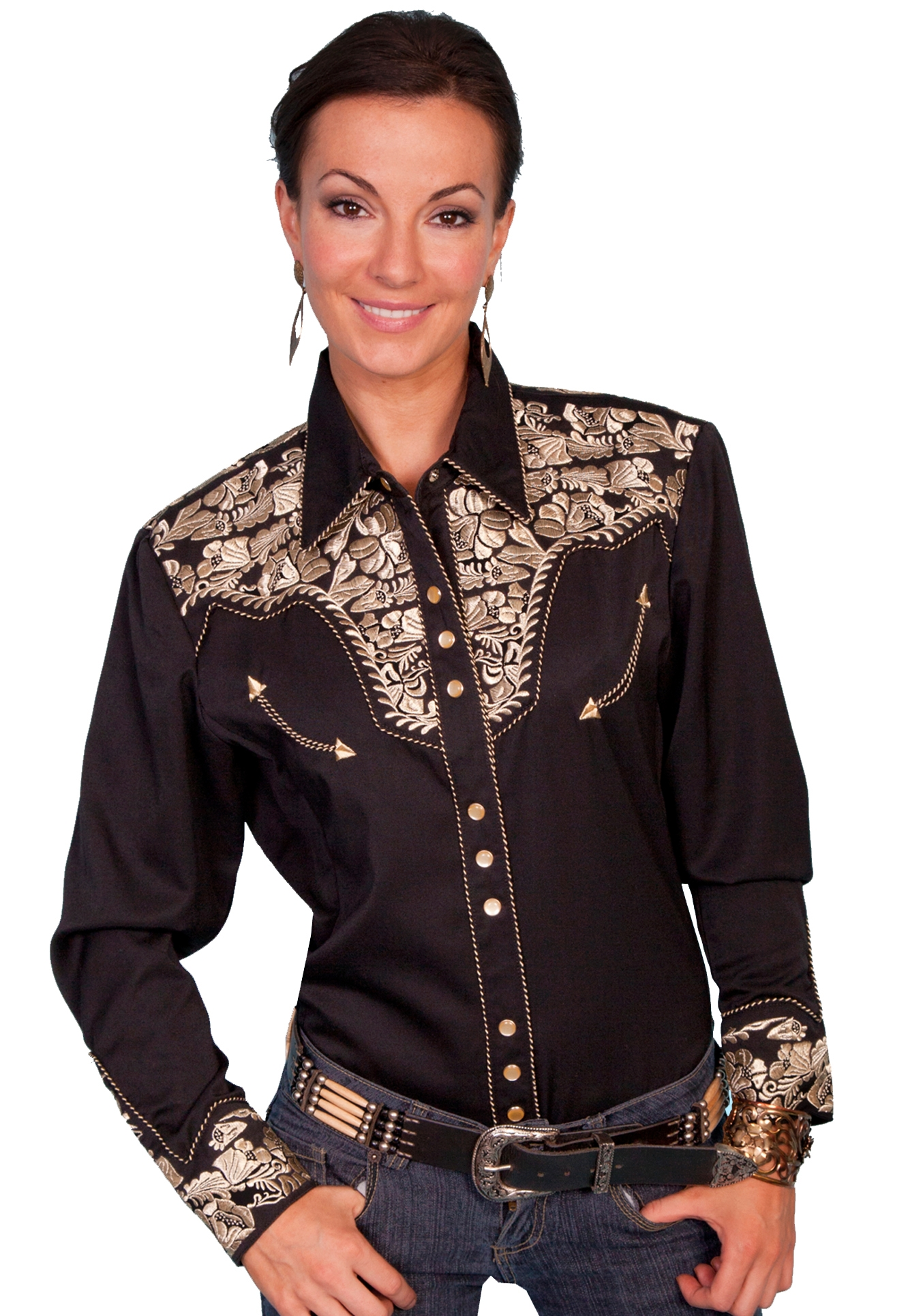 Womens Scully Gold Embroidered Black Western Shirt retro shirt, scully