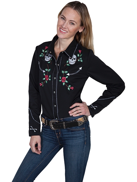 "This ""Skull & Roses"" Scully Womens Black Western Shirt has embroidered roses with piping and smiley pockets closed up with matching pearl snaps and is available in mens for his and hers matching western shirts"