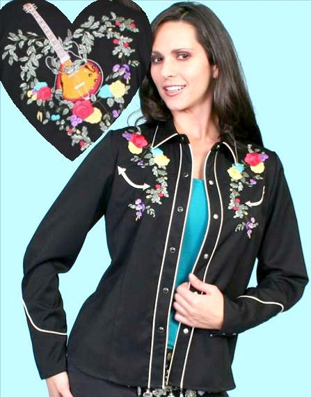 """Guitar Love"" Scullly womens small embroidered western shirt"