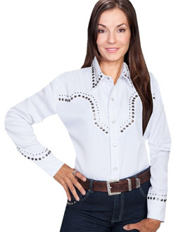 """Lady White Iron"" Womens Scully White studded Western Shirt, western shirt for women, scully retro shirt, vintage shirt, retro shirt, scully"