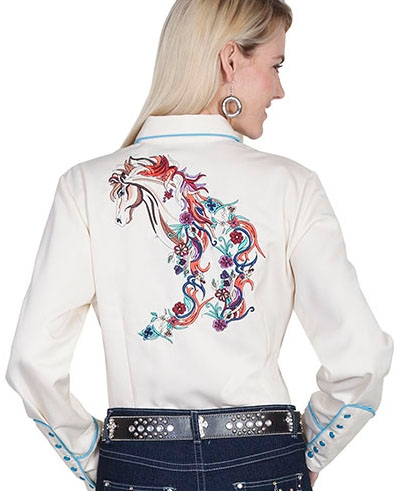 This Scully womens colorful horse embroidered cream western shirth has detailed embroidered horses in mulit colors with smiley pockets and matching pearl snaps.